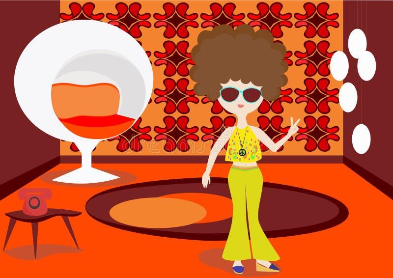 Hippie girl stock illustration