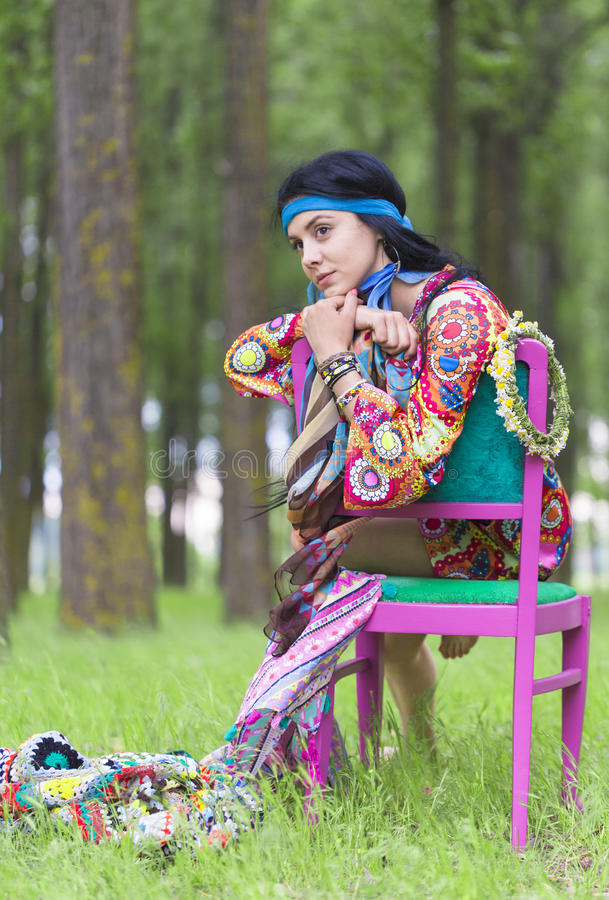 Hippie Girl Daydreaming royalty free stock photography