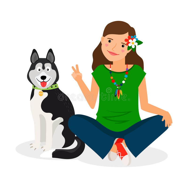 Hippie Girl with Dog. Hippie girl with shephard dog. Vector illustration stock illustration