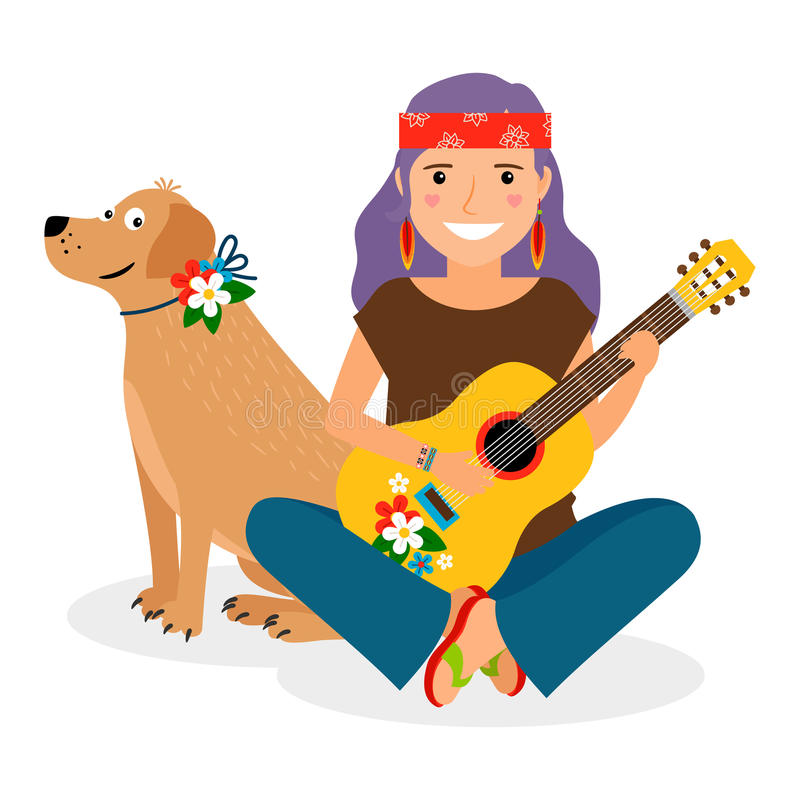 Hippie Girl with Guitar and Dog vector illustration