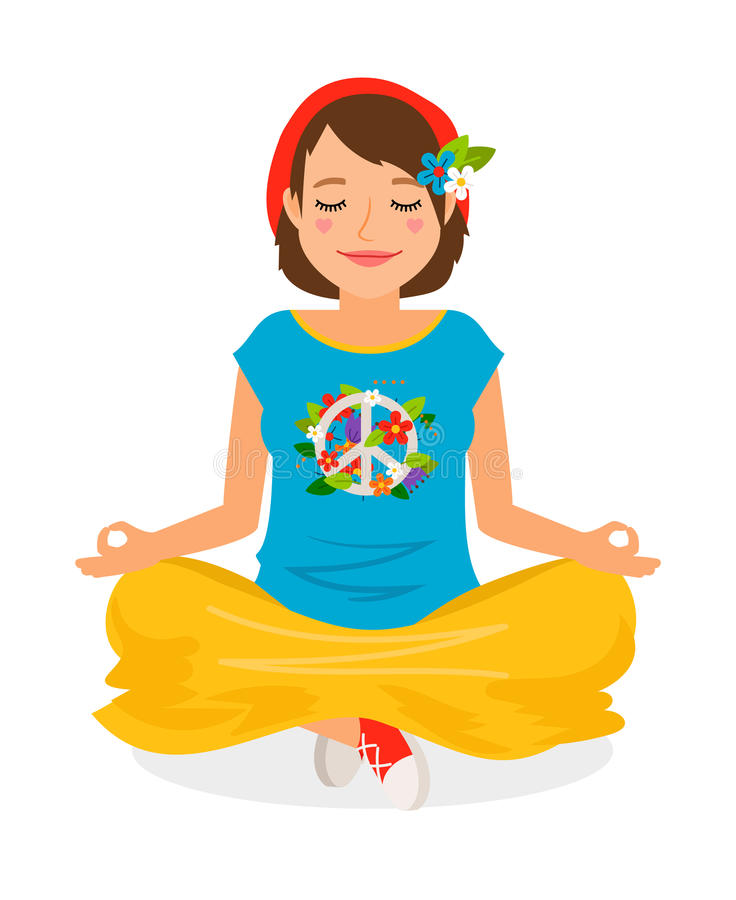 Hippie Girl Yoga Meditation stock illustration