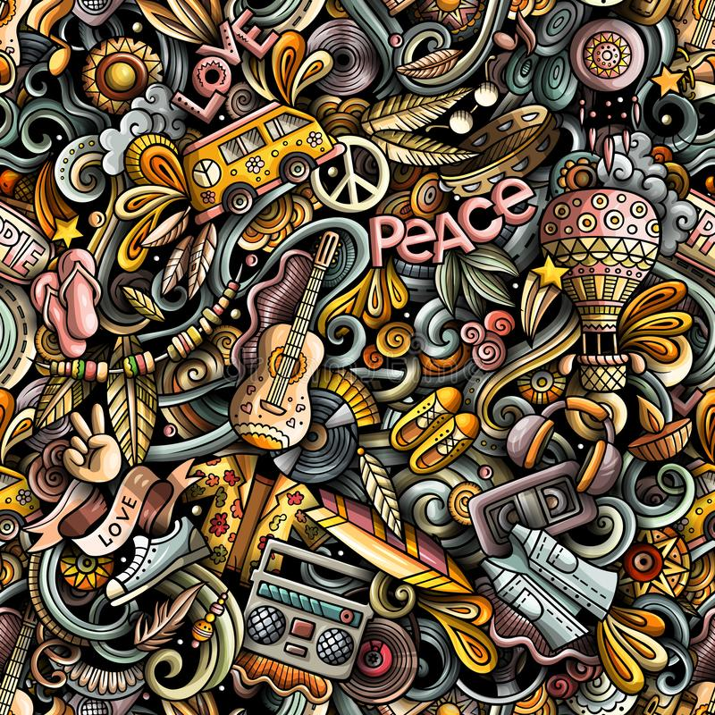 Hippie hand drawn doodles seamless pattern. Hippy background. vector illustration