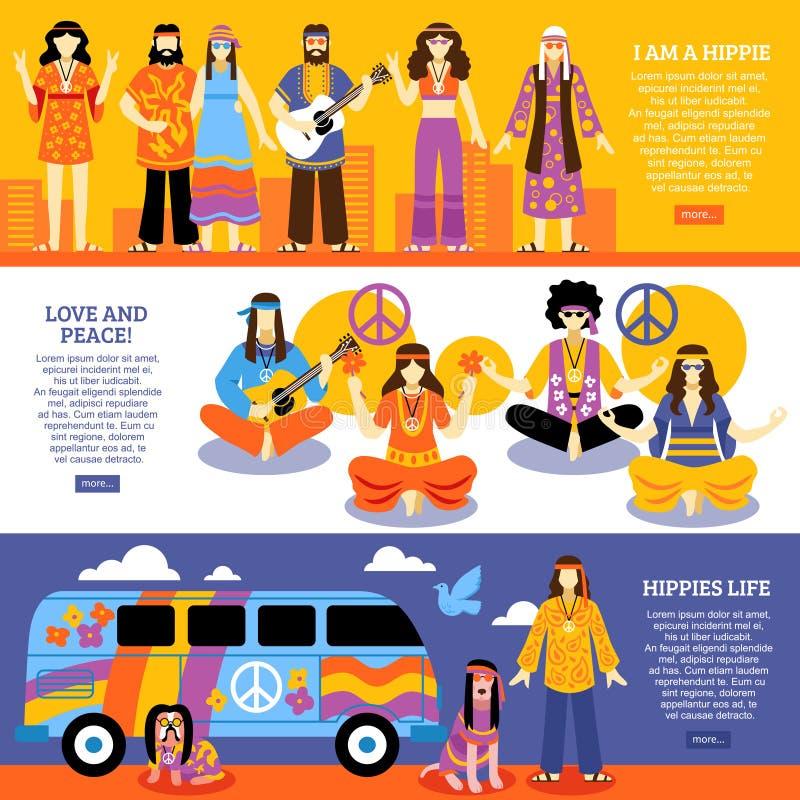 Hippie Horizontale Banners royalty-vrije illustratie