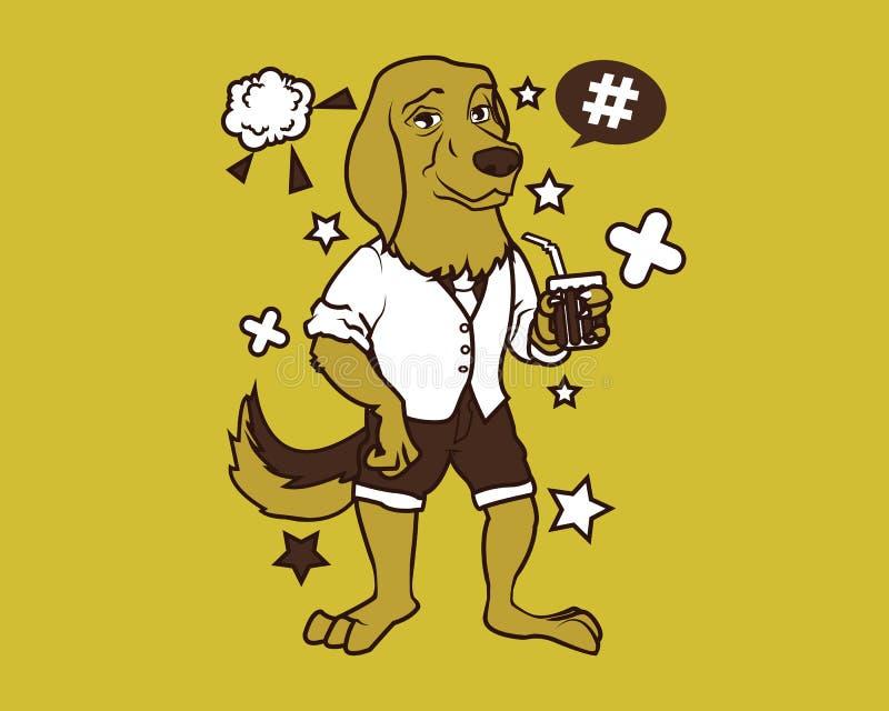 Hippie-Hundekarikatur-T-Shirt Entwurf lizenzfreie abbildung