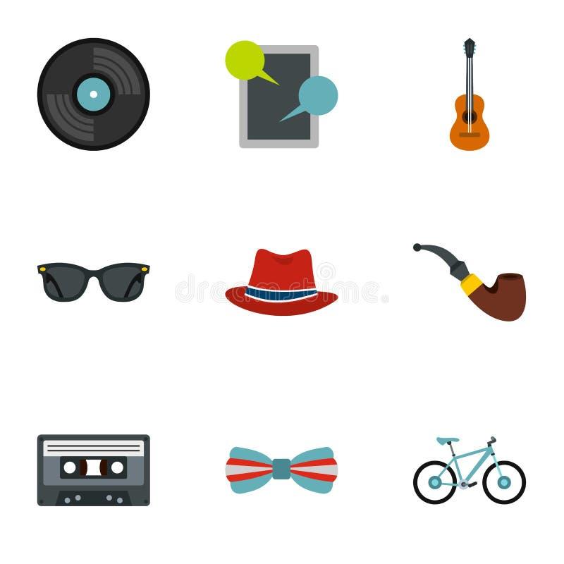 Hippie icons set, flat style stock illustration