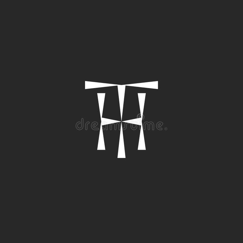 Hippie-Initialen TH-Logomodell von der geometrischen Form der Dreiecke, dünne Linie der Buchstaben T H der Kombination zwei zusam stock abbildung