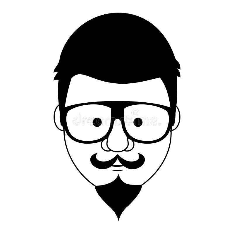 Hippie-Kerlgesichtskarikatur in Schwarzweiss vektor abbildung