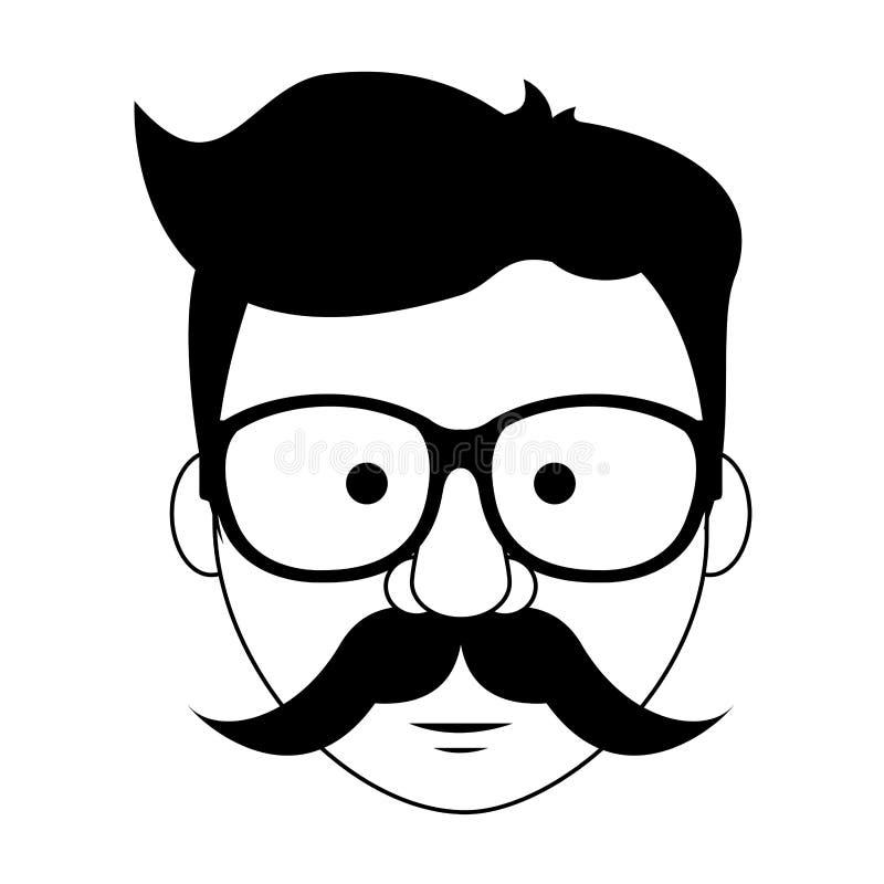 Hippie-Kerlgesichtskarikatur in Schwarzweiss lizenzfreie abbildung