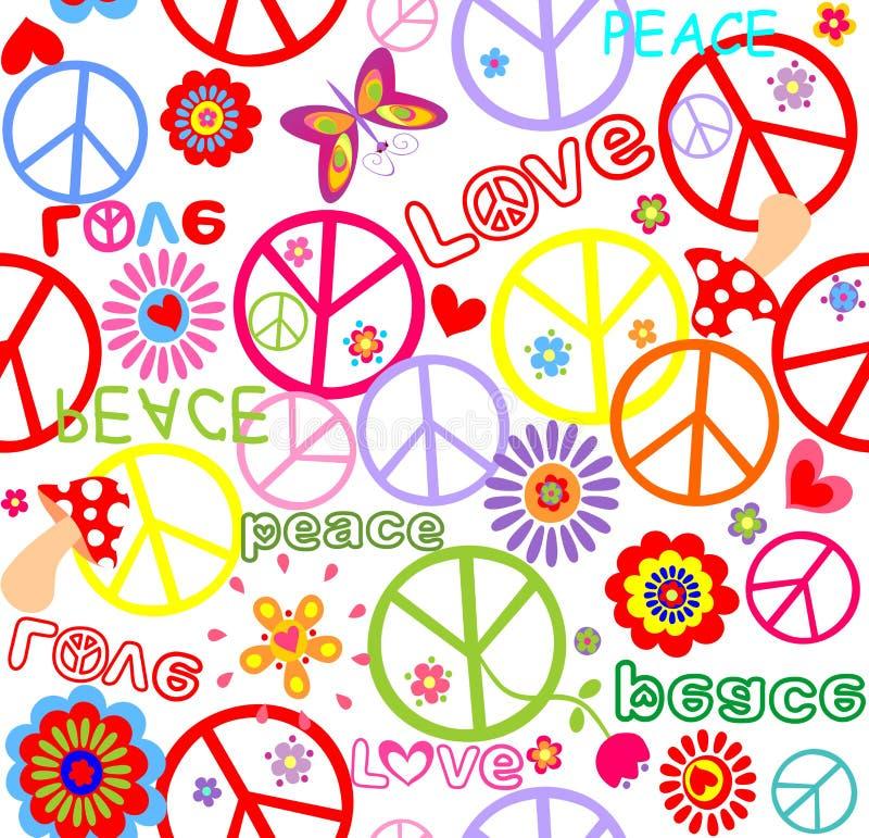 Hippie kinderachtig behang met paddestoel royalty-vrije illustratie