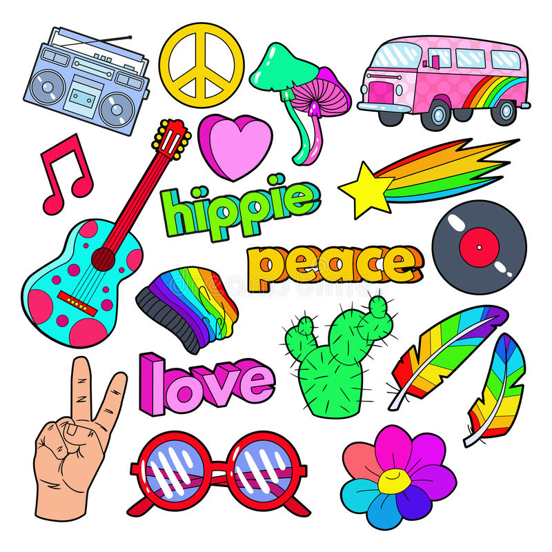 Hippie Lifestyle Doodle with Pink Van, Peace Sign and Colorful Guitar. Vector illustration stock illustration