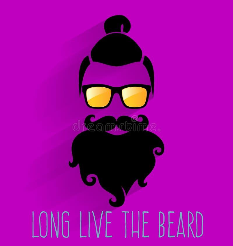 hippie Long Live The Beard illustration libre de droits