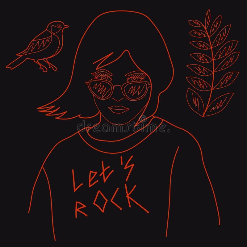 Hippie-Mädchen in der Sonnenbrille und in einem Sweatshirt mit Symbolen der Flora und der Fauna Auch im corel abgehobenen Betrag vektor abbildung