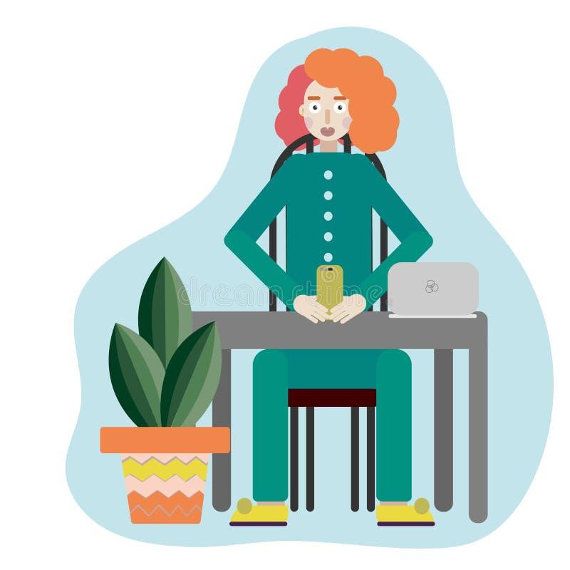 Hippie-Mädchen verwendet für tragbares Netzbuch des freiberuflich tätigen entferntjobs FERNjobs, die eine Frau in einem passenden vektor abbildung