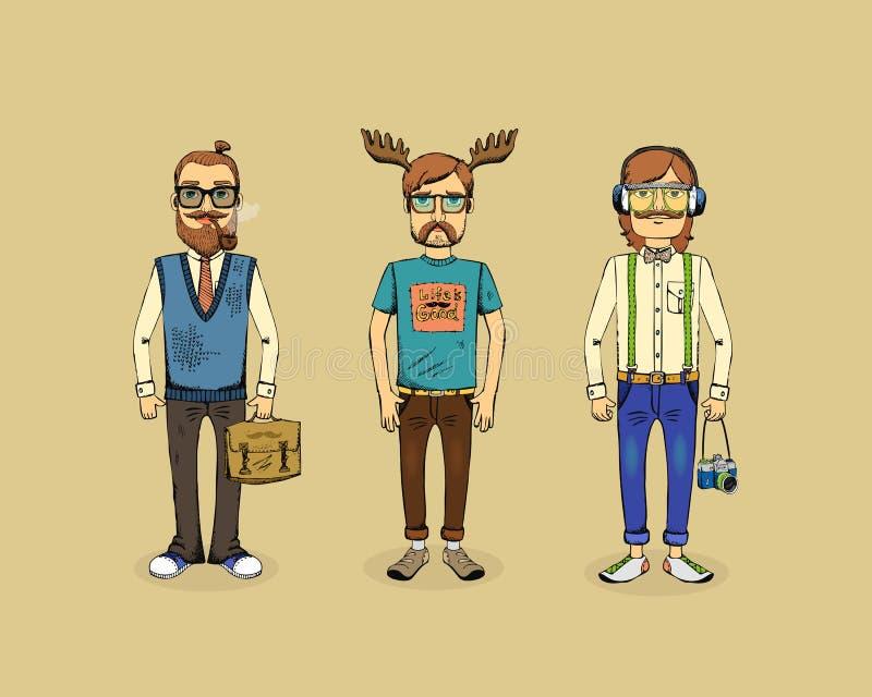 Hippie-Männer lizenzfreie abbildung