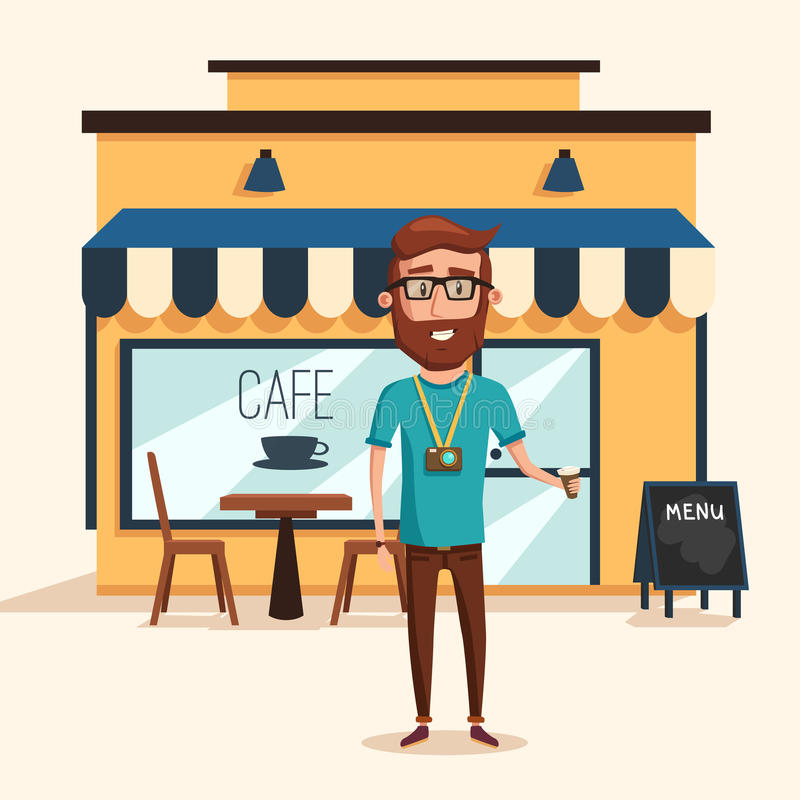 Hippie-Mann mit Bart- und Fotokamera nahe Café mit Menü und Tabelle, Stühle und Lampen vektor abbildung
