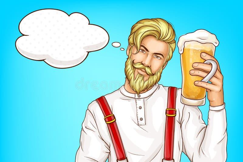 Hippie-Mann mit Glasvollem des Bierkarikaturvektors vektor abbildung