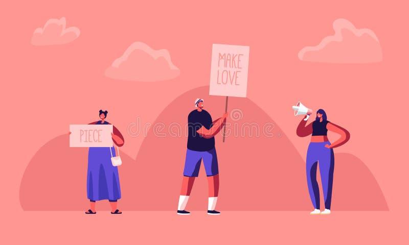 Hippie-Mann und weibliche Aktivisten-Charaktere mit Fahnen für Liebe und Stück, Aufstand, Pfosten Protest von Leuten mit Plakaten lizenzfreie abbildung