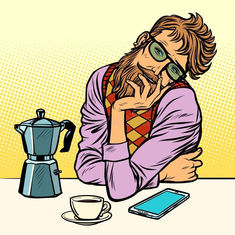 Hippie-Mannmorgenkaffee stock abbildung