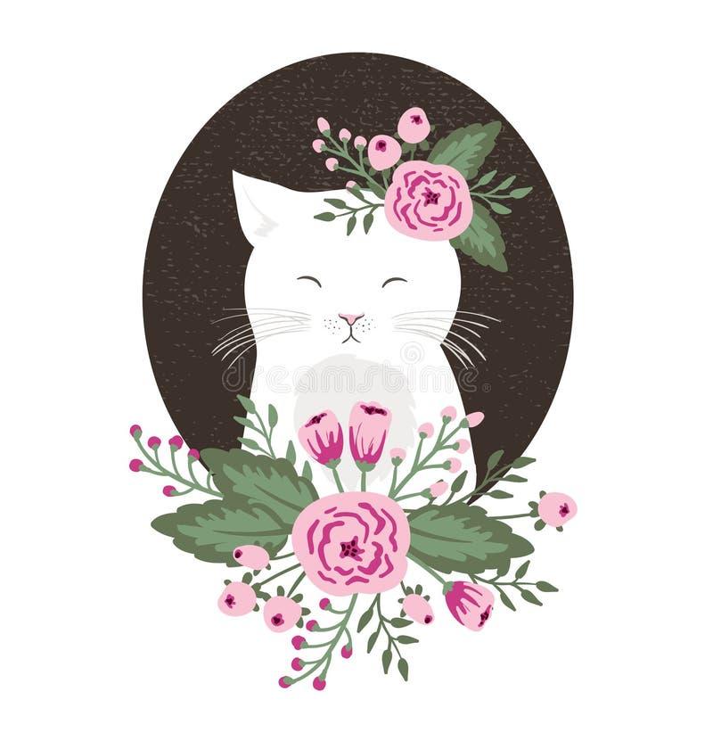 Hippie-Miezekatze mit Blumen auf Weinlese maserte Hintergrund, die gezeichnete Katzenhand lizenzfreie abbildung