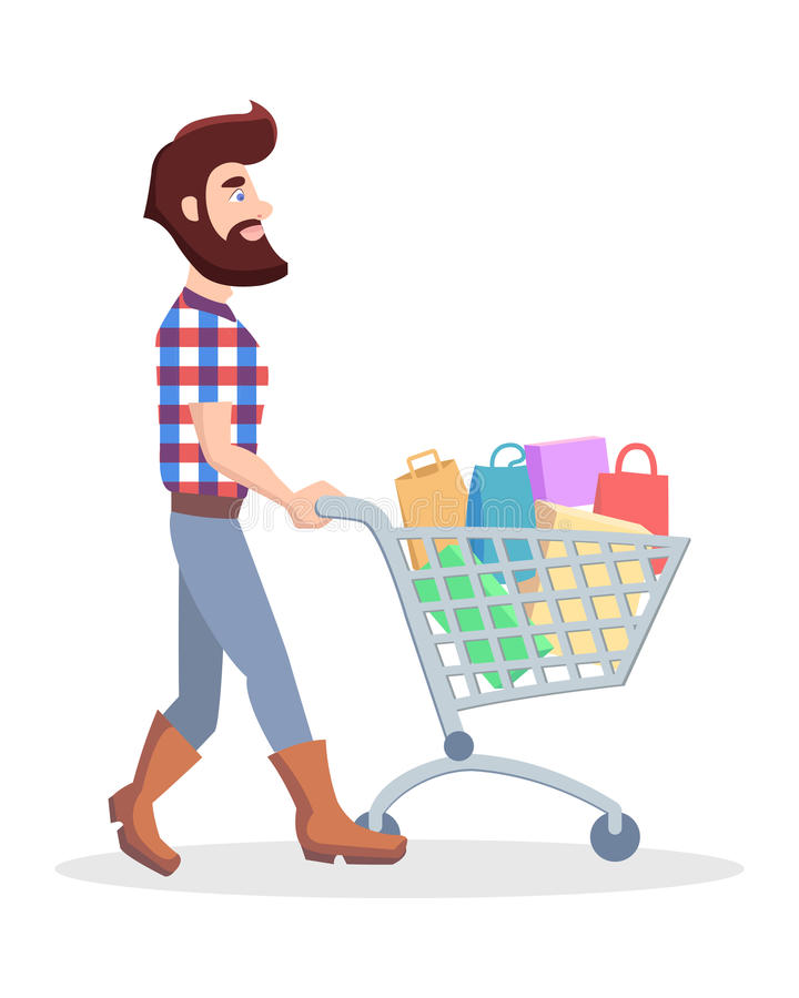 Hippie mit Einkaufslaufkatze voll des Waren-Vektors stock abbildung