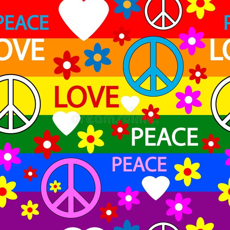 Hippie naadloos patroon stock illustratie