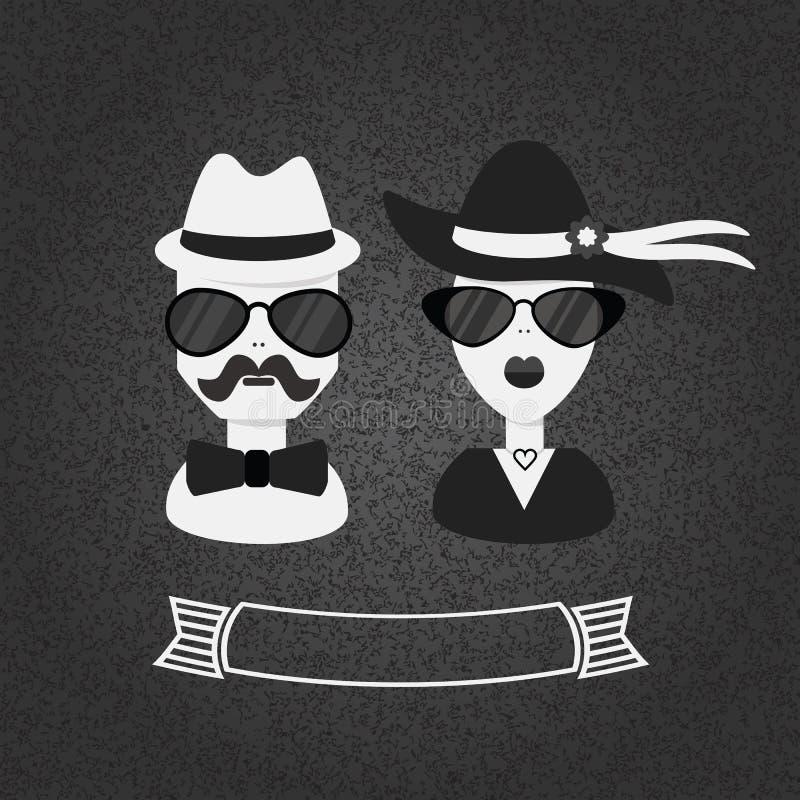 Hippie-Paare in Schwarzweiss auf grauem strukturiertem Steigungshintergrund lizenzfreie abbildung