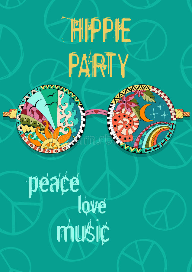 Hippie party poster. Hippy background with sun glasses. royalty free illustration
