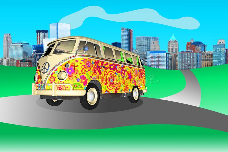 Hippie Peace Love VW Bus. A Volkswagen VW bus illustration The Hippie peace love vehicle is on the open road and highway with an urban city in the background royalty free illustration