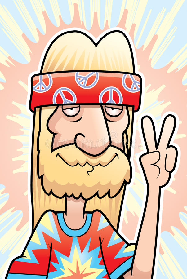Hippie Peace Sign. A happy cartoon hippie making the peace sign royalty free illustration