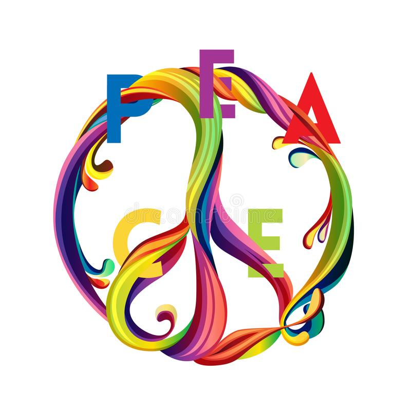 Hippie Peace Symbol With Liquid Shapes And Sliced Text Peace And
