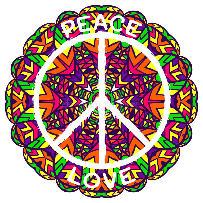Hippie Peace Symbol Peace And Love On Ornate Colorful Mandala