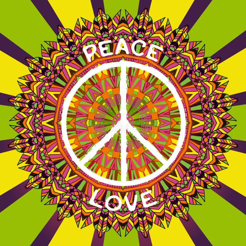 Hippie peace symbol. Peace and love sign on ornate colorful mandala background. Design concept for banner, card, scrap booking, t-shirt, bag, print, poster stock illustration