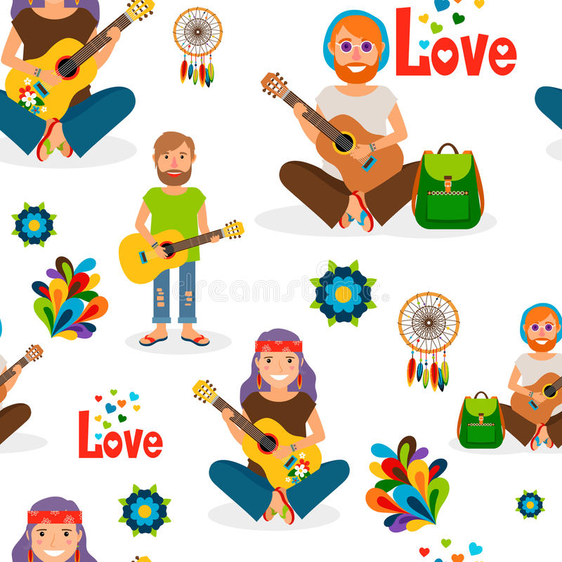 Hippie people with guitar seamless pattern vector illustration