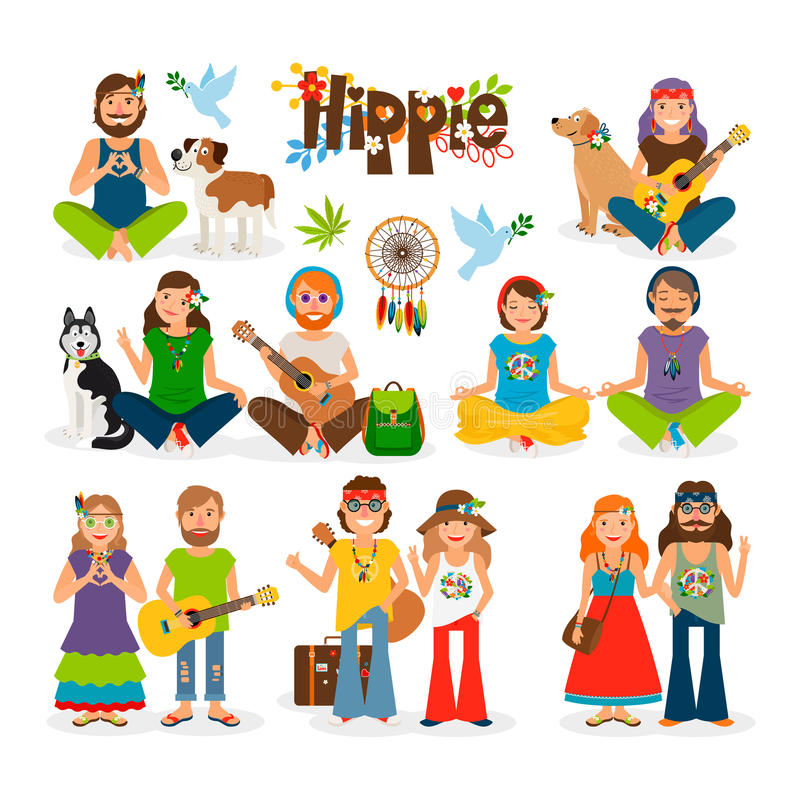 Hippie people vector icon set stock illustration
