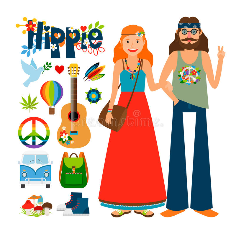 Hippie people vector icons royalty free illustration