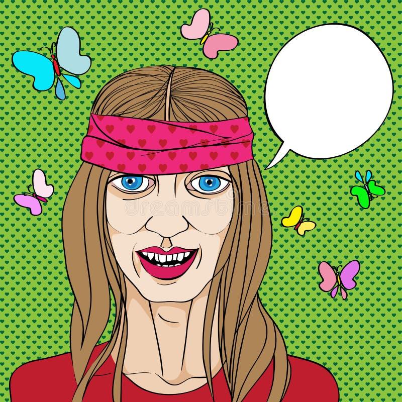 Hippie portrait royalty free illustration