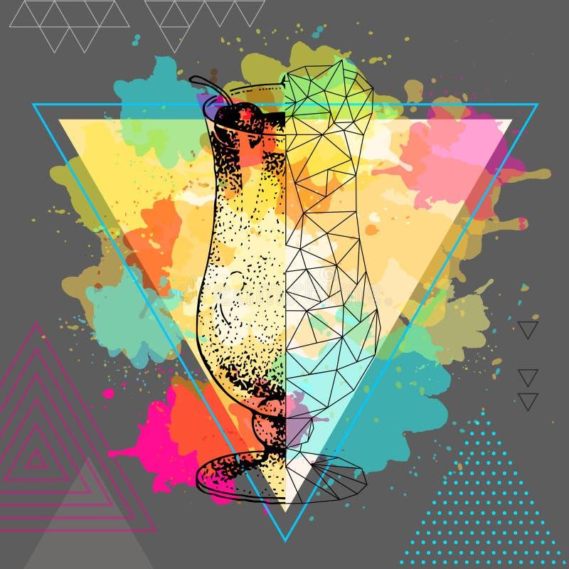 Hippie realistisches und polygonales Cocktail pina colada auf Aquarellhintergrund stock abbildung