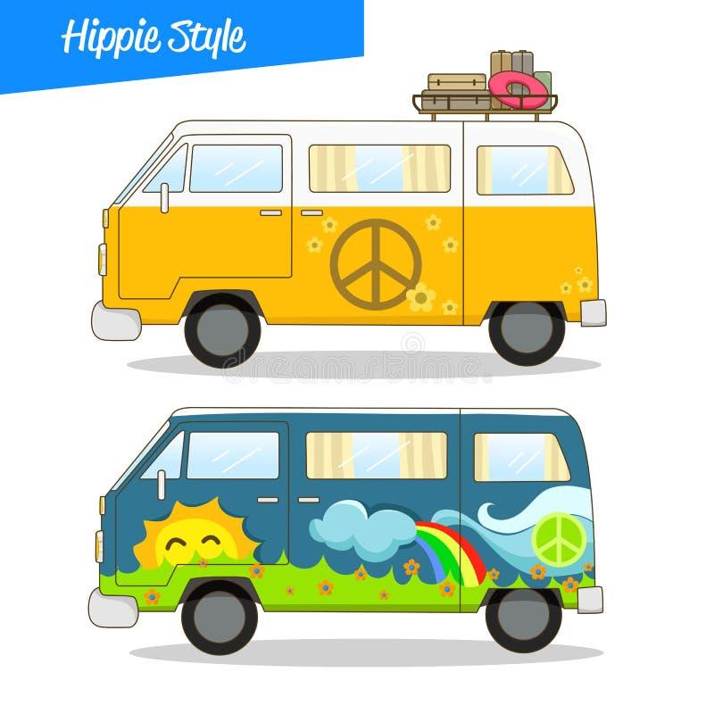 Hippie retro Van Vector del estilo libre illustration