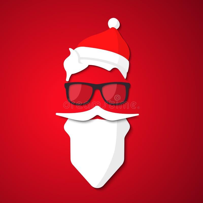 Hippie Santa Claus avec la barbe et les verres frais illustration de vecteur
