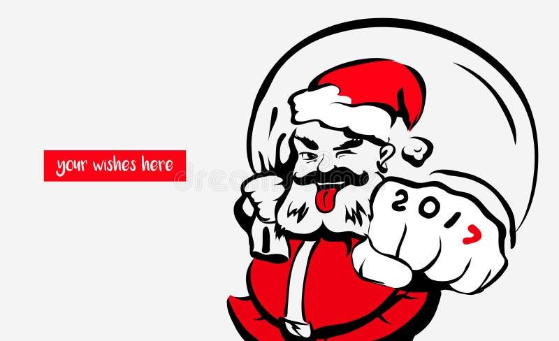 Hippie Santa Claus fraîche, carte de voeux 2017, endroit pour vos souhaits Noël de père dans le chapeau rouge Joyeux Noël Le conc illustration de vecteur