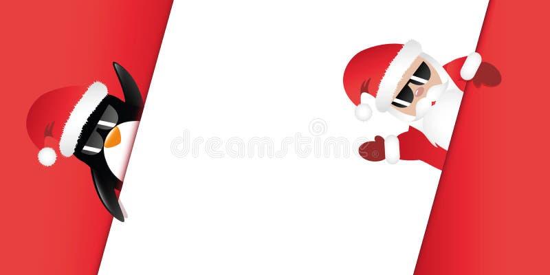 Hippie Santa Claus und Pinguin mit Sonnenbrille winkt zu lizenzfreie abbildung