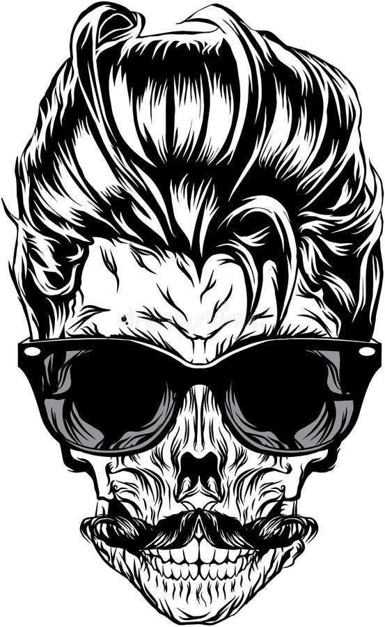 Hippie-Schädel mit Sonnenbrille, dem Hippie-Haar und dem Schnurrbart vektor abbildung