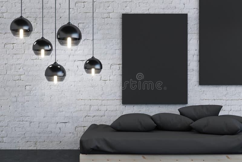 Hippie-Schlafzimmerinnenraum mit Plakat vektor abbildung