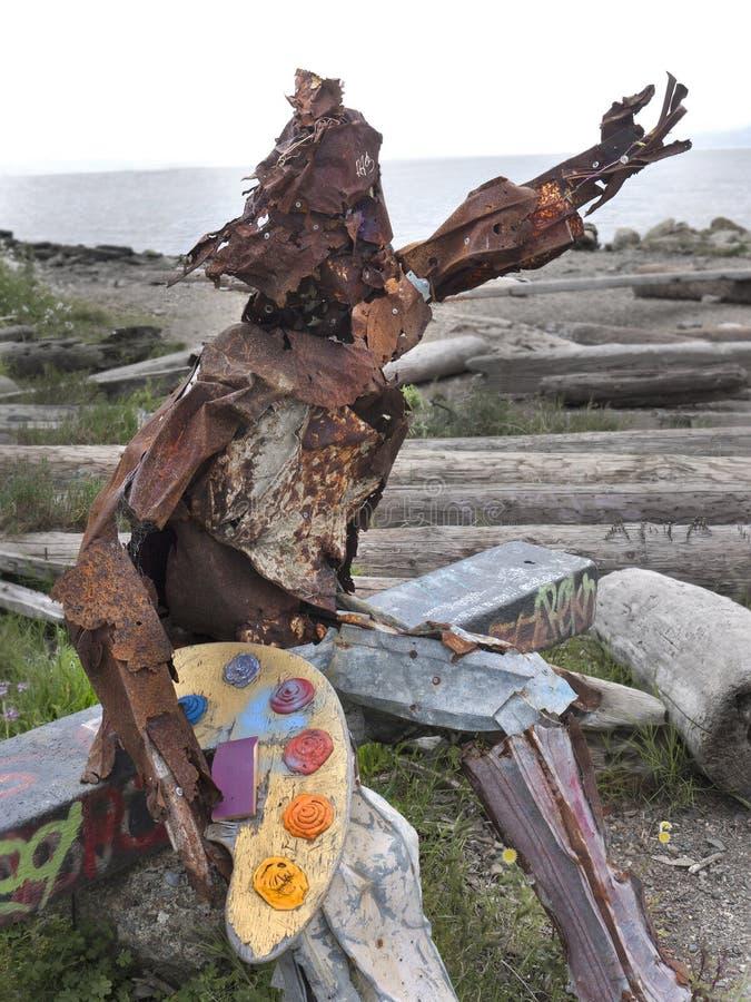 Hippie statue art painter royalty free stock photo