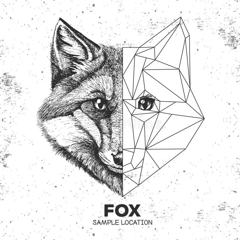 Hippie-tierisches realistisches und polygonales Fuchsgesicht lizenzfreie abbildung