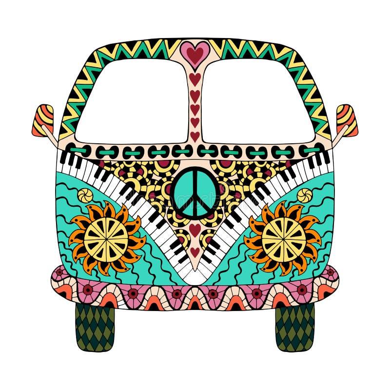 Hippie uitstekende auto een minibestelwagen royalty-vrije illustratie