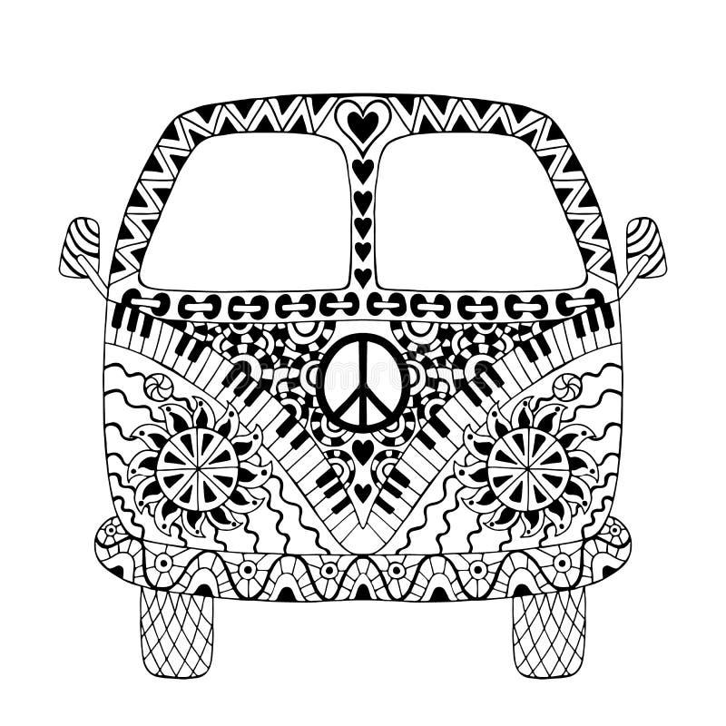 Hippie uitstekende auto een minibestelwagen stock illustratie