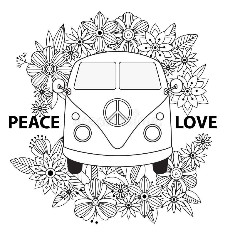Hippie uitstekende auto een minibestelwagen Sier achtergrond royalty-vrije illustratie