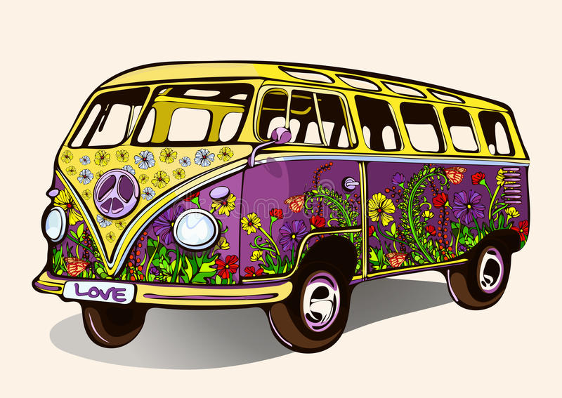 Hippie uitstekende bus, retro auto met het airbrushing, hand-trekt, beeldverhaalvervoer stock illustratie