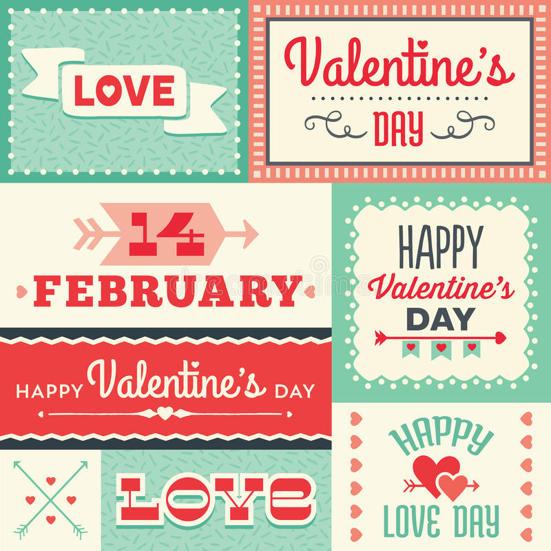 Hippie-Valentinsgrußtagestypografische Aufkleber und -fahnen im Rot und vektor abbildung
